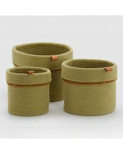 Green Basket Set of 3