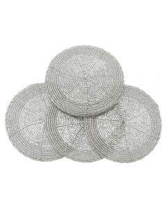 Circular Beaded Coaster Set/4