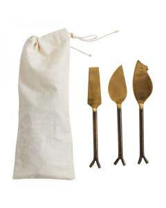 Gold Cheese Utensils Set Of 3