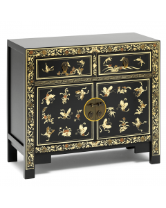 Oriental-decorated-black-sideboard