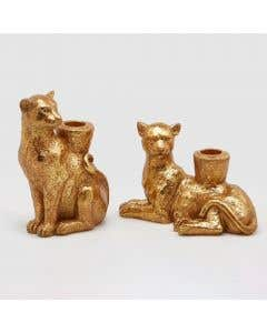 Panther Candle Holder Set of 2