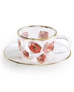 Roses Glass Coffee Cup
