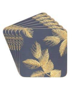 Etched Leaves Coaster Set of 6