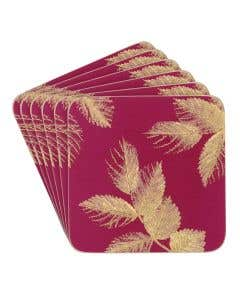 Berry Leaves Coaster Set of 6
