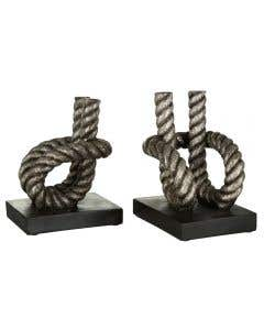 Silver Rope Bookends